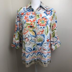 ALFRED DUNNER Women's Blouse Size 12 Floral Print